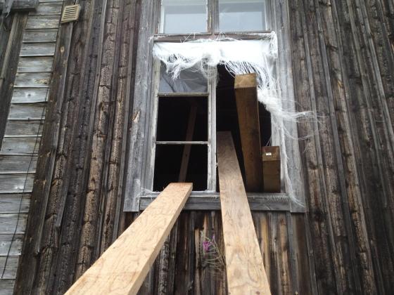 Tukipuut raijattiin sisään ikkunasta